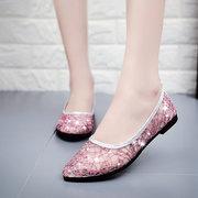 Mesh Shiny Transparent Paillette Respirant Chaussures plates à enfiler