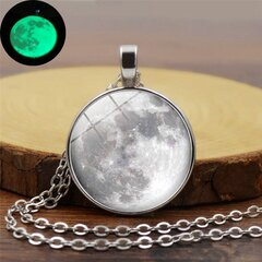 Retro Luminous Moon Timer Necklace Sliver Alloy Sweater Necklace For Women Men