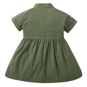 Army Baby Girls Short Sleeve Button Closure A-Line Summer Dress For 0-36M