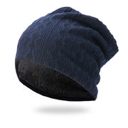 Mens Winter Solid Color Stripe Knitted Cotton Beanie Cap Earmuffs Warm Outdoor Casual Hats