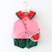 3Pcs Cute Watermelon Baby Girls Summer Sets For 0-24M