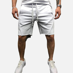 Mens Casual Sports Torn Edge Design Solid Color Drawstring Waist Running Shorts