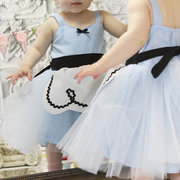 Bleu Mesh Patch Toddler Filles Princesse Style Party Pageant Robe Pour Costume Cosplay
