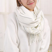 Women Artifical Cashmere Stripe Multi-color Scarves With Tassel Shawl Fashion Casual Outdoor Scarf