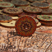 100 Pcs Flower Pattern Wooden Round Decorative Sewing Buttons for Handmade Craft Supplies