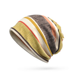 Women Mens Soft Breathable Stripe Beanies Cap Multifunction Collar Scarf