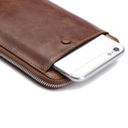 Genuine Leather Vintage 6 Inch Phone Bag Removable Card Holder Long Wallet For Men