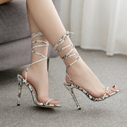 European And American Season New Fashion Sexy Fine With Snake Pattern Strap Sandals Super High With Large Size 42