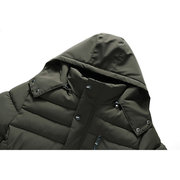 Mid Long Cotton Padded Wind Proof Warm Thick Stitching Hooded Coat for Men