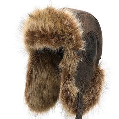 Men Winter Warm Thick Warm Ears Fur Imitation Hair PU Lei Feng Cap Outdoor Casual Hat