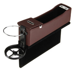Leather Car Seat Gap Filler Dual USB Charging Port Cup Holder Storage Box Coin Collector