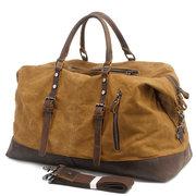 Sac porté main vintage en cuir véritable en toile imperméable à grande capacité sac porté travers pour homme