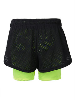 Breathable Pretend Two-pieces Sports Shorts Elastic Yoga Running Short Pants For Women