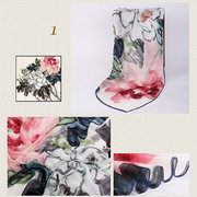 Women Silk Classical Ink Painting Scarves Casual Sunshade Multi-function Shawl Scarf