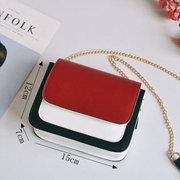 Laides Elegant Color Block Patchwork PU Leder Handtaschen Flap Crossbody Taschen