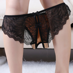 Women Sexy Sheer Lace Bow-knott V-String Open Crotch Panties Lingerie