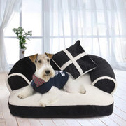 3 Colors EU Style Luxury Pet Couch Bed Dog Cat Detachable Winter Sofa Bed Kennel