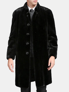 Mens Faux Mink Hair Mid-long Coat Thick Warm Fur Stand Collar Single-breasted Casual Coat