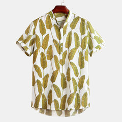 Mens Cotton Summer Freshness Leaf Printed Stand Collar Short Sleeve Loose Casual Shirts