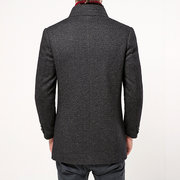 Mens Thicken Cotton Lining Furry Stand Collar Jacket Business Casual Wool Trench Coat