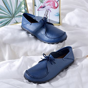 Large Size Leather Soft Flat Shoes