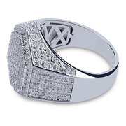 Gold Hip Hop Hexagon Finger Ring with Micro Zircon Gold Rings for Men