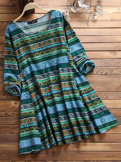 Vintage Ethnic Print Long Sleeve Loose Plus Size Dress