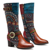 SOCOFY Vintage Pattern Genuine Leather Splicing Jacquard Comfortable Knee Boots