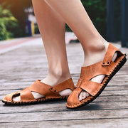 Men Hand Stitching Soft Closed Toe Leather Sandals