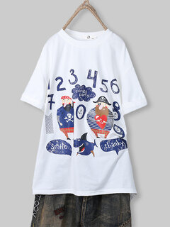 Cartoon Print Crew Neck Half Sleeve Plus Size T-shirt