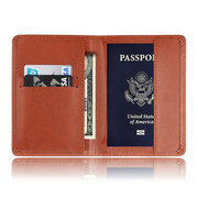Men And Women Passport Holder Faux Leather Ticket Holder Business 2 Card Slot Holder