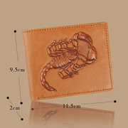 Genuine Leather Scorpion Pattern Personalized Wallet Card Holder For Men
