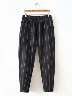 Stripe elástico na cintura bolsos Harem Pants