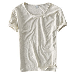 Mens Summer Cotton Breathable Solid Color Short Sleeve Basic Casual T Shirt