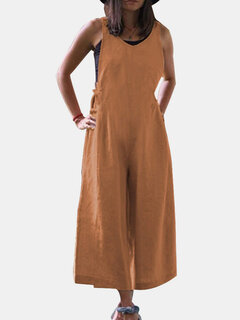 Wide Leg Solid Color Loose Casual Jumpsuit For Women