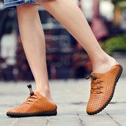 Men Breathable Hole Hand Stitching Leather Flat Casual Shoes