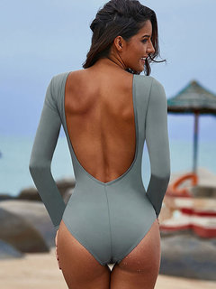 Sexy One Piece Swimsuits Criss Cross Deep V Backless Long Sleeves Women Bathing Suits