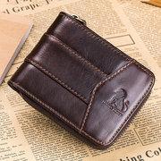 Vintage RFID Antimagnetic Genuine Leather 13 Card Slots Coin Bag Trifold Wallet For Men