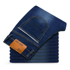 Plus Size Loose Elastic Straight Washed Jeans For Men