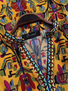 Blusa étnica de manga comprida com decote em v vintage étnica Plus