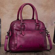 Brenice Women Genuine Leather Vintage Boston Bag Handbag Crossbody Bag