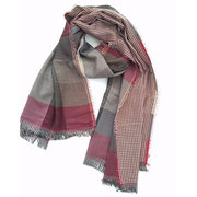 Cozy Warm Long Soft Men Scarf Cotton Tassel Double Fine Stripe Plaid Scarves Winter For Men