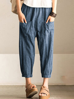 Pocket Stripe Loose Harem Pants For Women