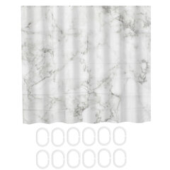 White Marble Pattern Fabric Shower Curtain Set Decor Bathroom Curtains Mat Rug