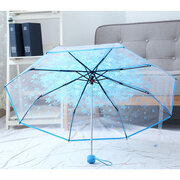 SaicleHome PEVA Romantic Cherry Blossoms Transparent Umbrella Folding Umbrella Sun Rain Gear