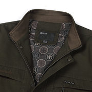 Plus Size Washed Biker Cotton Stand Collar Jacket for Men