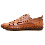 Homme Main Couture Cuir Grand Taille Antidérapant Soft Sole Sandales Casual