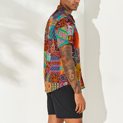 Mens Ethnic Style Floral Printing Shirt Cotton Seaside Short Sleeve Loose Ethnic Style Casual Shirt