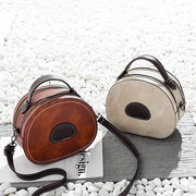 Women Round Vintage Faux Leather Crossbody Bags Double Layer Phone Bags