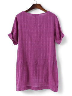Women Casual Pocket Pure Color Short Sleeve T-shirts